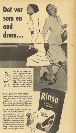 Den onde drøm består i at fru Madsen ser en dame der har vasket med Rinso og derfor har mere hvidt og velholdt tøj end hende selv. Fru Madsens hund har tilsyneladende heller ikke vasket sig i Rinso...