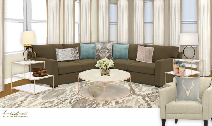 A city neutral and elegant family room for a virtual design client. Design and rendering by Linda Merrill. #virtual #design #edecor #edesign #open #concept #neutral #brown #sectional #beige #cream #brass