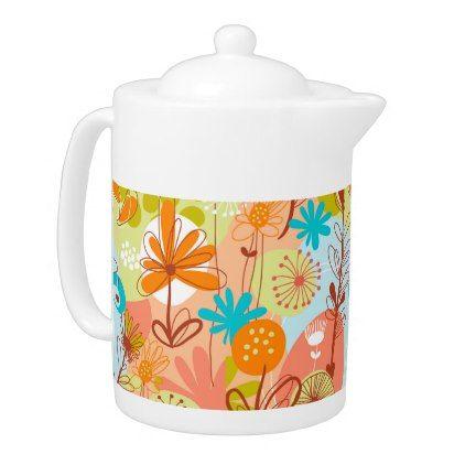 Retro Flowers White Green Salmon Orange Yellow Teapot - retro gifts style cyo diy special idea