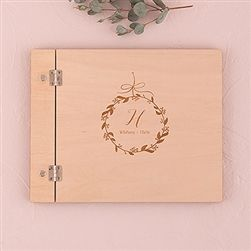 Personalized Wooden Wedding Guest Book - Botanical Wreath Etching