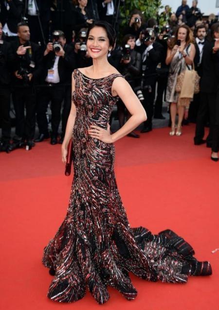Maudy Koesnaedi at Cannes 2013. Dress by Sebastian Gunawan.