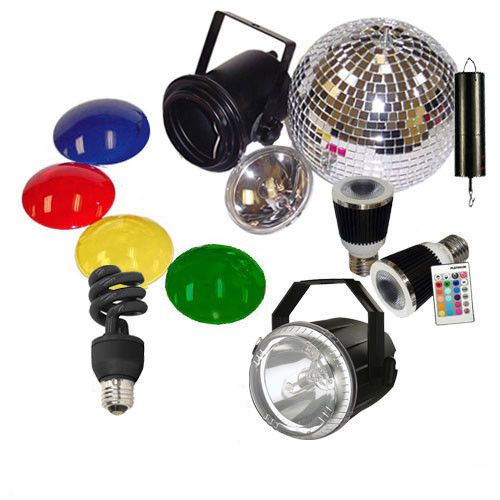 Mirror Ball Kit w/ CFL Blklight Mini Twist+2 RGB LED Music+Strobe Light