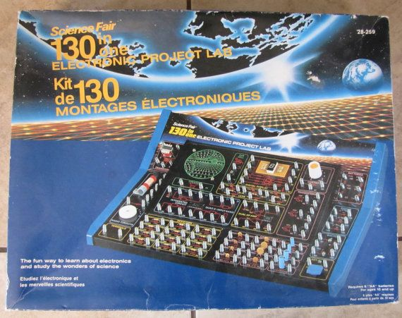 Science Fair 130 in One Electronics Project Lab Kit, Electronic project kit, electronic lab game, science fair, science game, vintage game 24.00