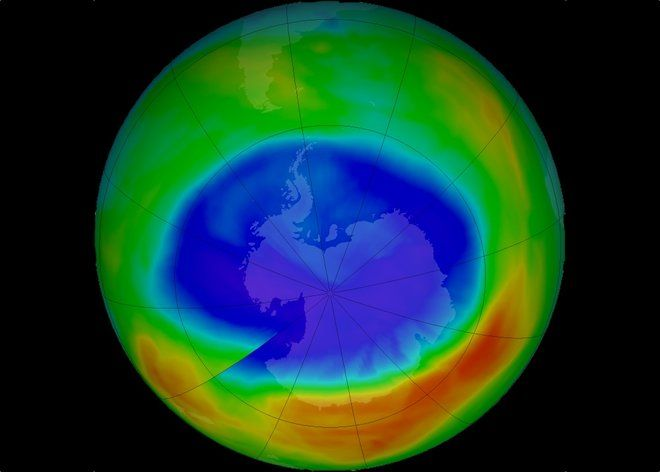 Good News on Warming: Ozone Hole Is Smallest Since 1988. The ozone hole over Antarctica shrunk to its smallest maximum-extent in September 2017. Here, in this false-color view of the monthly-averaged total ozone the blue and purple indicate areas with the least ozone, while yellows and reds mean the most ozone. Credit: NASA
