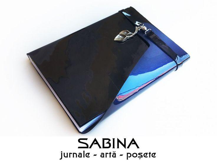 Jurnal A6 piele lacuita Cala - piele vopsita in degrade, negru spre albastru - Jurnal de calatorie baroc - (inchidere cu magnet si snur de piele) - Jurnal de calatorie - Agenda personalizata