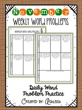 FREE weekly word problems for the ENTIRE month of November. This month includes addition, subtraction, and multiplication word problems.