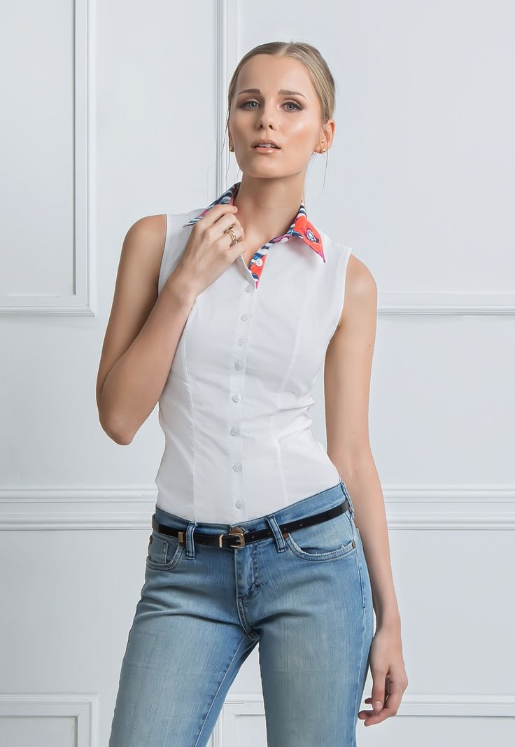Melania - Sleeveless button down women's fitted shirt