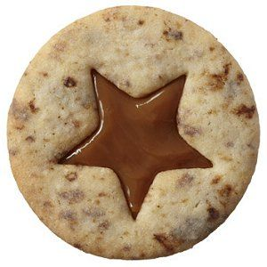 Coffee cookie with dulce de leche. @Nikki O! I am 10,000% sure we need to make these. There's instant coffee in them -- and I knowwww it's in the dollar spot at work lol
