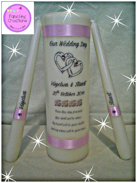 Custom designed candle by the bride & groom. Pretty in pink.  https://m.facebook.com/personalised.candles.for.all.occasions