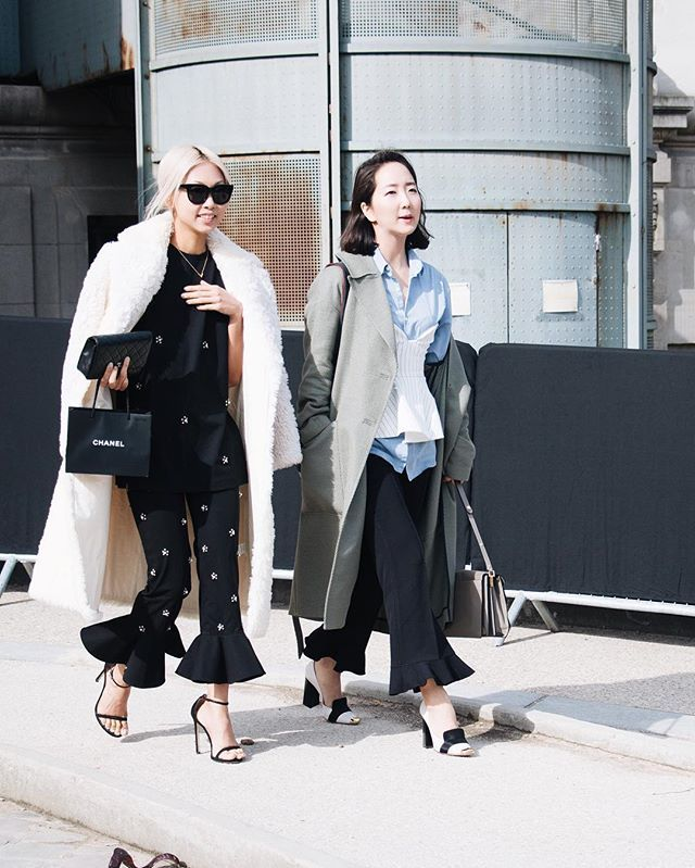 Pin for Later: 21 Outfits You'd Never Think to Wear With Heels — but Totally Should Flared Pants and Lots of Layers Up Top