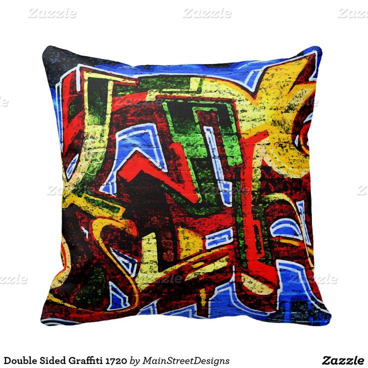 Double Sided Graffiti 1720 Throw Pillows