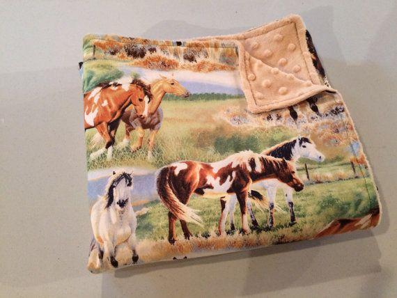 Western Baby Blanket Horse Baby Blanket Minky by StarBoundHorses