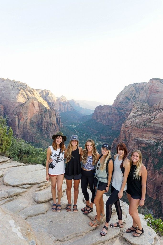 """""""I love unconventional anything, so a bachelorette party in the middle of the desert? Perfect. We all flew into Vegas, rented the ultimate mom car (a Chrysler minivan) and headed into the desert for a memorable weekend adventure of camping, hiking and the never-ending quest for shade as we gallivanted our way through Zion's majestic views and 111-degree heat."""" (Laura Lawson-Visconti, photographer)"""