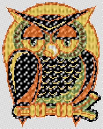 OWL HALLOWEEN PDF Cross Stitch Pattern