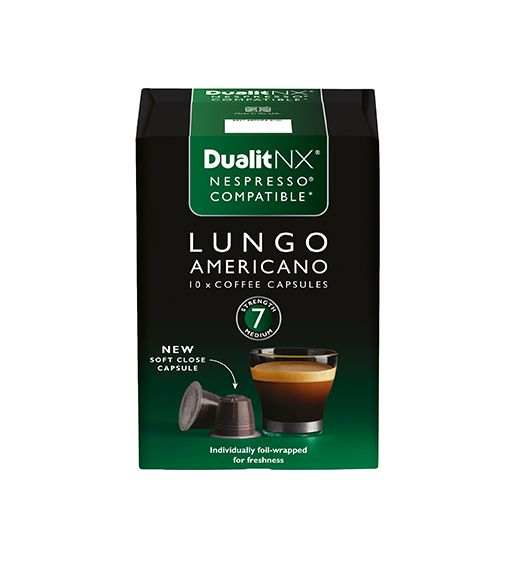 Dualit NX Coffee Capsule – Lungo Americano  Central and South American Arabica, enhanced with a splash of African Robusta – for a well-developed and rounded character.  Strength: 7 – Long and rich  Expert Tasting Notes: A rich and complex blend with an intense hazelnut character, complemented by an underlying caramel sweetness and subtle berry notes in the finish.  Perfect for: Ristretto, Espresso  Packaging: 10 capsules/pack