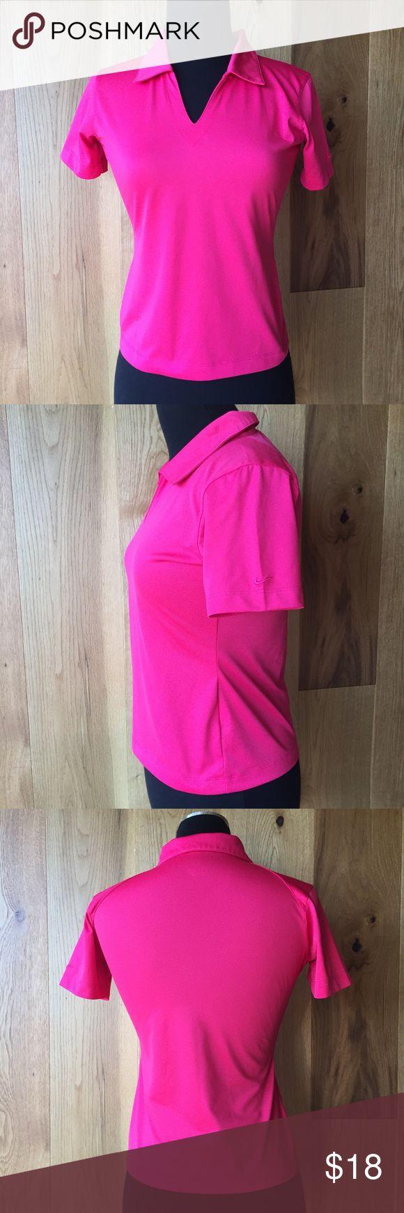 NIKE GOLF POLO SHIRT XS Pink NIKE GOLF FIT DRY polo shirt.  Size XS (1-2).  Gently used, pet/smoke free home Nike Tops Tees - Short Sleeve