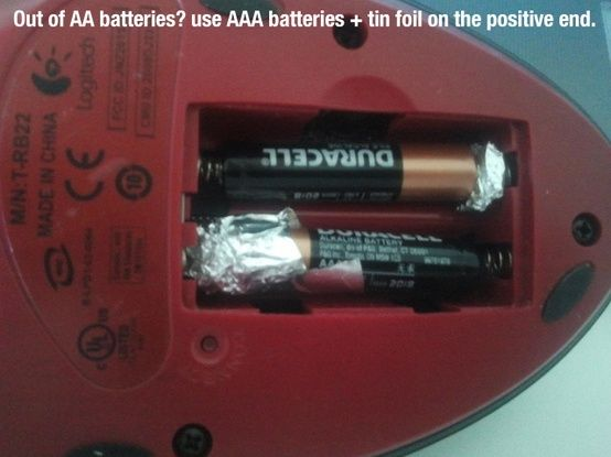 out of AA? use AAA with foil! The things you learn on pinterest...SHUT the FRONT DOOR!!!