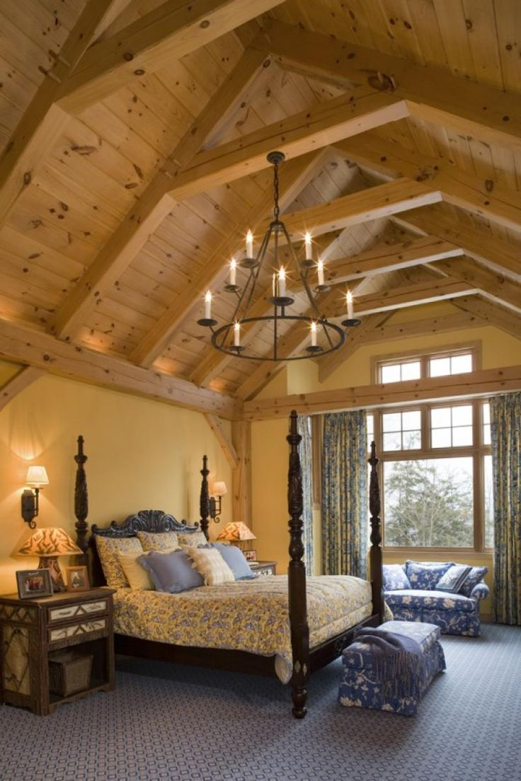 Patina style romantic bedroom - Bedroom Photo In Eastern White Pine Woodhouse Timber Frame Home I Like The High Ceilings In The Master Bedroom However I Wonder If It Would Get Hot