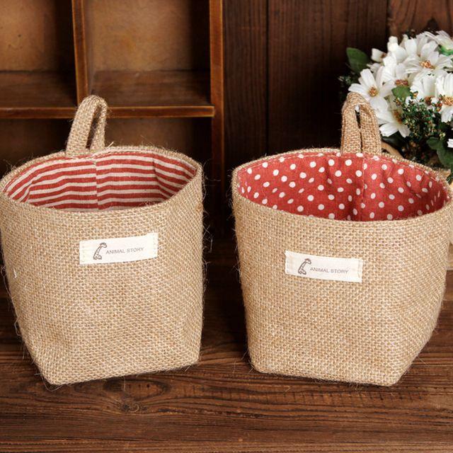 Nova moda criativa de Supermercado tecidos incorporando pequenas cestas de lavanderia de armazenamento organizador saco pendurado flor vaso de cobre