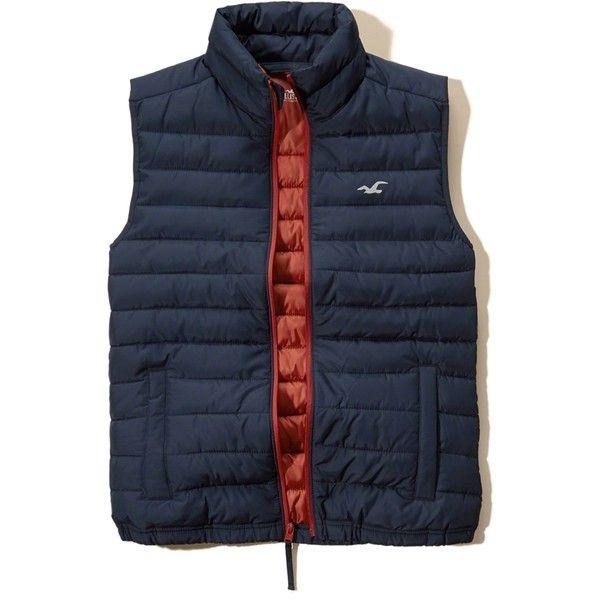 Hollister Lightweight Puffer Vest ($30) ❤ liked on Polyvore featuring men's fashion, men's clothing, men's outerwear, men's vests, navy, mens navy blue vest, mens navy vest, mens puffer vest, old navy mens puffer vest and mens puffy vest
