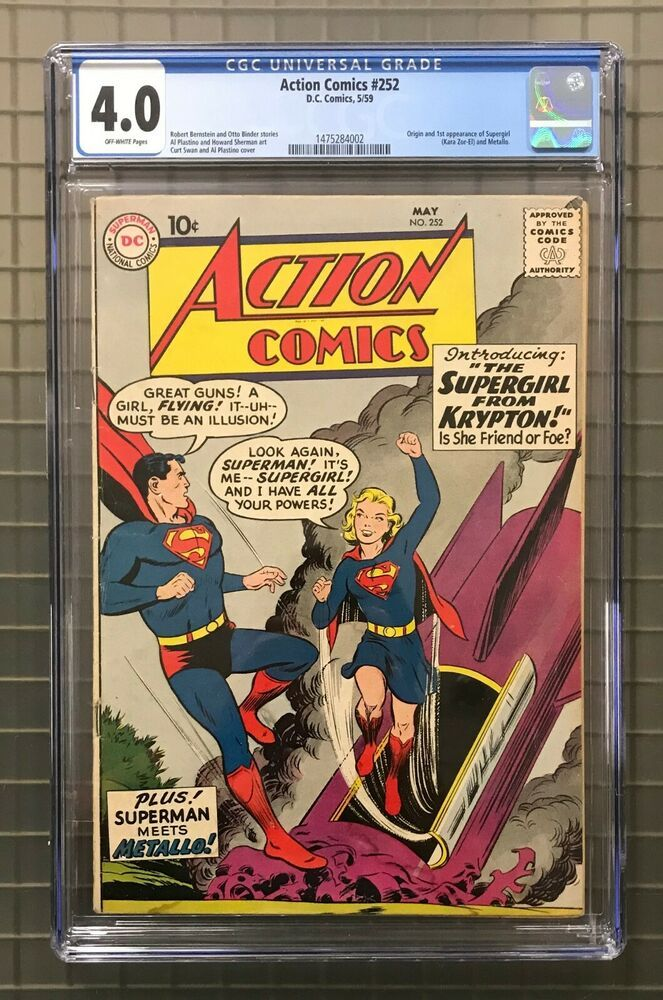 Action Comics 252 Dc Comics Superman 1959 Cgc 4 0 1st Appearance Of Supergirl Comics Dc Comics Superman Supergirl