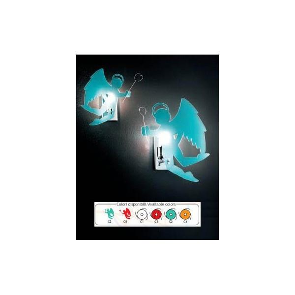 LAMPADA APPLIQUE NOVA ANGELO/DIAVOLO CODICE: 991  Lampada applique da parete a luce diffusa. Struttura in metallo verniciato nichel. Diffusore in plexiglass disponibile con: - angeli (solo in acquamarina (C2) - diavoli (solo in rosso (C8)  La lampada viene fornita sprovvista di lampadina Con una maggiorazione di € 3 è disponibile nella versione con cavo esterno. Il colore va specificato al momento dellacquisto.  Dimensioni: 22X10X27h cm. Lampadina consigliata: 1 X 40 Watt...