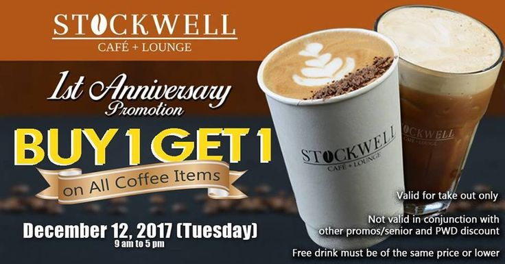 Buy 1, Take 1 Coffee @ Stockwell Cafe, Quezon City. CLICK HERE for more details: https://dealspinoy.com/buy-1-take-1-coffee-stockwell-cafe-quezon-city/ #DealsPinoy