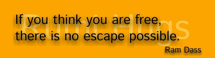 241.If you think you are free, there is no escape possible. [Ram Dass]