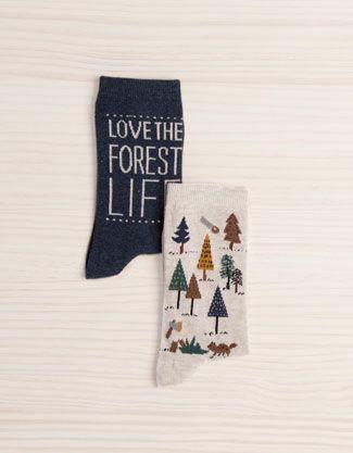 Pack of forest print socks