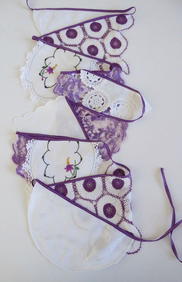 Handmade doily bunting, purple and white, mantle or room decoration, garland, eco friendly by TheLinenDrawer on Etsy