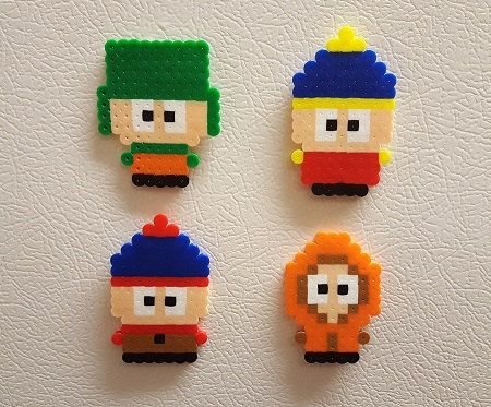 South Park Perler Bead characters videogame magnet and by PerlPop