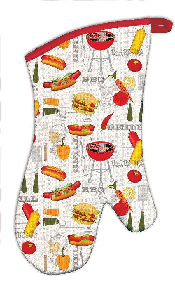 Michel Design Works Oven Mitt - BBQ — Giftwerks This cotton oven mitt is the perfect combination of function and design.  Printed on one side, solid quilted on the other.