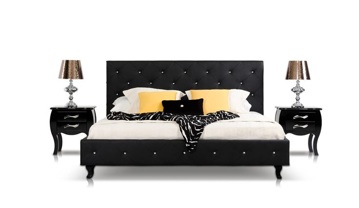 Modrest Monte Carlo - Black Leatherette Modern Queen Bed with Crystals