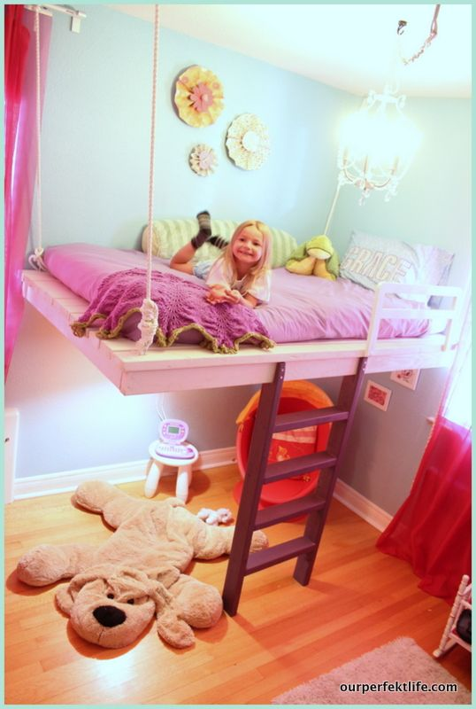 how to build a loft bed and win your daughter's heart *side boundaries (climbing netting? or posts?), corner posts from ceiling to floor and rock climb instead of ladder.  Book shelves & toys at top