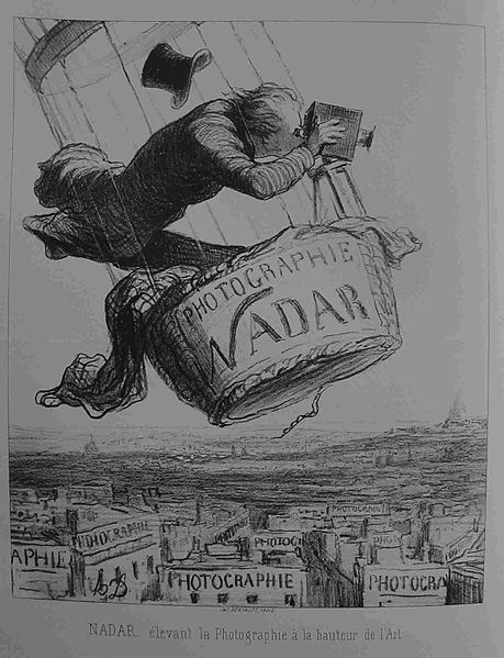 Honore' Daumier  (NADAR elevating Photography to Art).  Lithograph published in Le Boulevard, 1862.