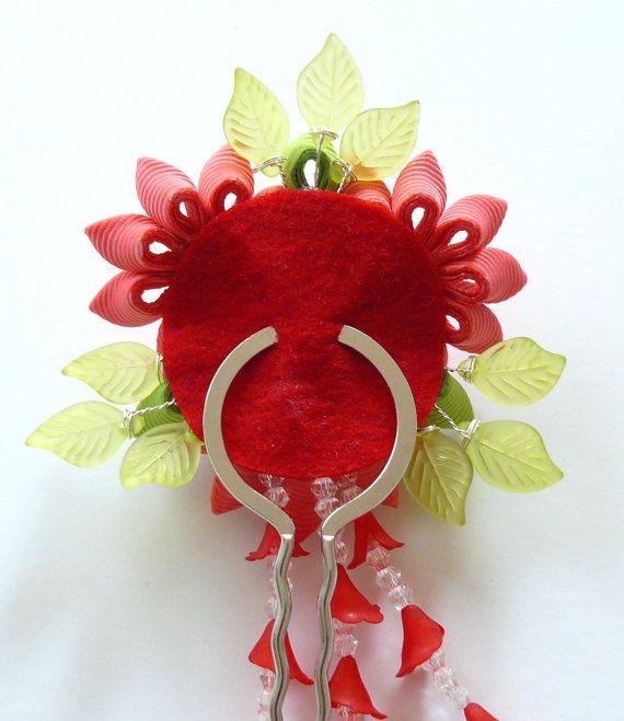 Coral Red Kanzashi fabric flower hair fork.  Red kanzashi