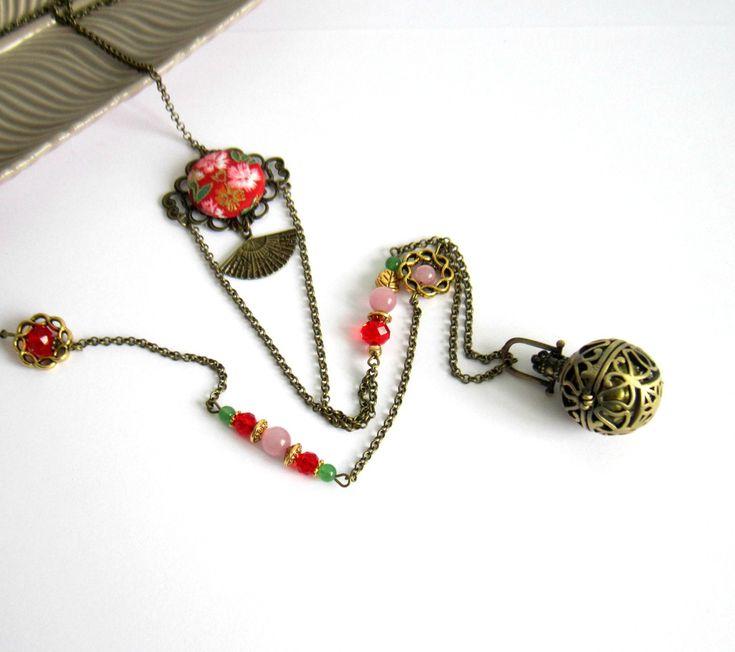 Bola de grossesse ethnique, asiatique, bronze, rouge, rose, doré, vert, cadeau femme enceinte, éventail, coton japonais : Collier par color-life-bijoux