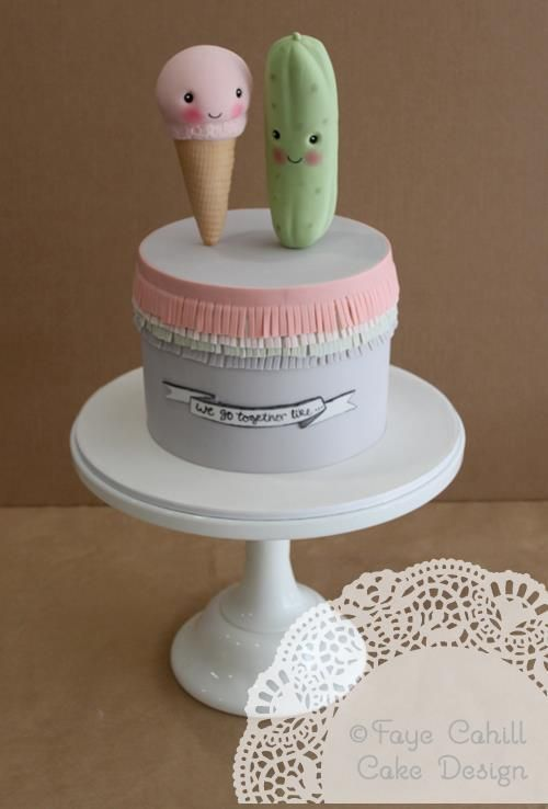 """""""We go together like pickles and ice cream"""" cake"""