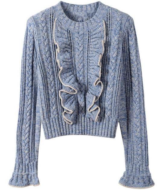 Pullover jumper flare hülse rüschen für frauen warme marke 2017 frühling runway pullover wolle gestrickte strick qualität