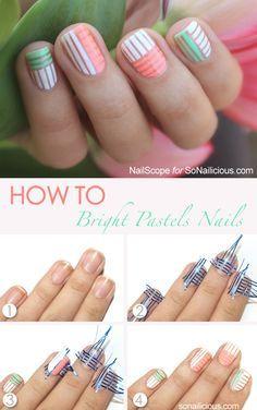 Pastel Spring Nail Art Tutorial. More: http://sonailicious.com/bright-pastel-nail-art-tutorial/