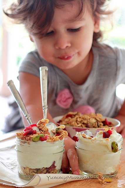 Festive yogurt & granola parfaits.  Quick Christmas breakfast before church this year?