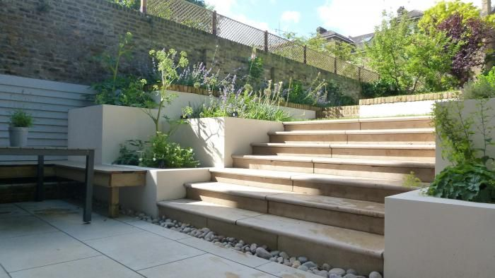 Jura Beige Limestone Paving, along with matching Step Treads . Just look at combination of rendered walls, brick walls and limestone paving
