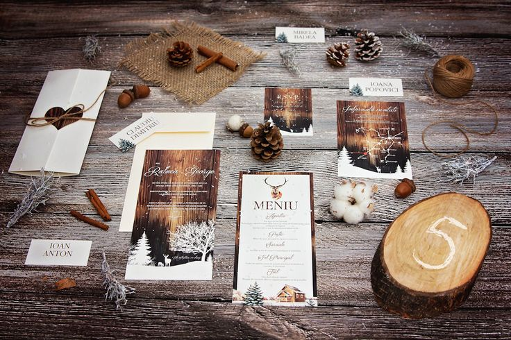 Rustic winter wedding . Snow landscape invitation, pinecone placecards, wood table number and all the other fine details