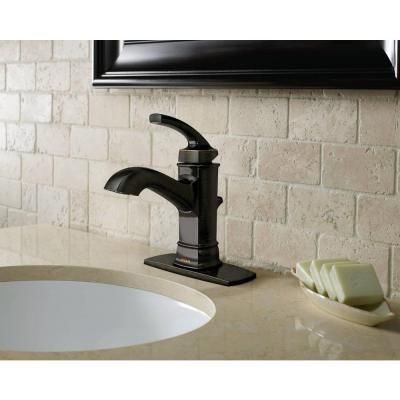 MOEN Hensley Single Hole 1-Handle Bathroom Faucet Featuring Microban Protection in Mediterranean Bronze-WS84414MBRB - The Home Depot