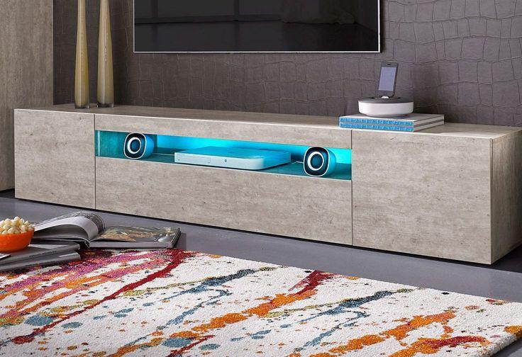 TECNOS Lowboard beige, FSC®-zertifiziert | Wohnzimmer > Schränke > Lowboards | Weiss - Anthrazit - Hochglanz | Hochglanz - Lackiert | TECNOS