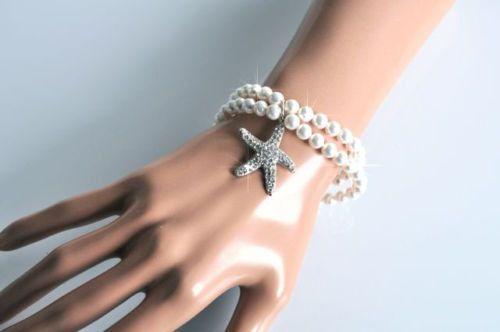 Handmade Pearl Starfish Bridal Bracelet Beach or Destination
