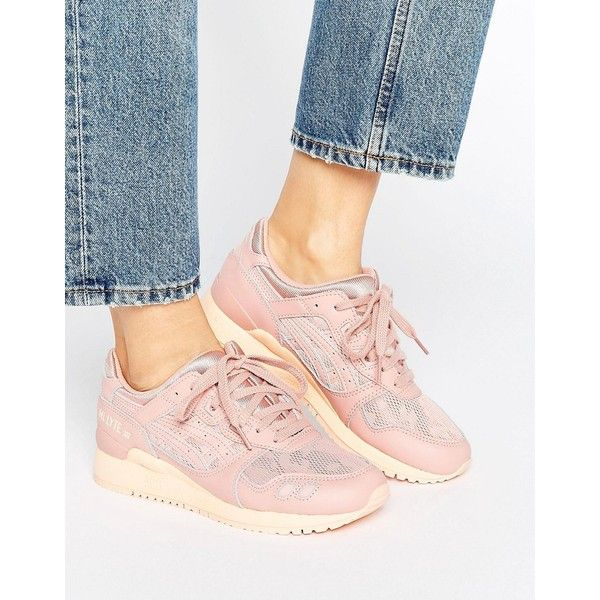 Asics Mesh Gel-Lyte Iii Sneakers In Pink featuring polyvore women's fashion shoes sneakers pink pink trainers laced shoes asics trainers mesh trainers asics footwear