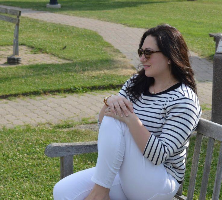 White jeans and stripe L.L.Bean sailor sweater