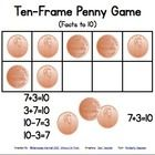 Directions: Cooperatively in pairs, use one set of ten pennies and ten frame board. First player puts the pennies in his hands behind his back, p...