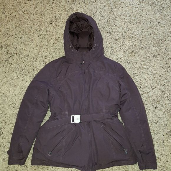 North Face Hyvent down jacket women's XL North Face Hyvent down filled ladies jacket, the color is a deep purple, and my daughter only wore it a few times. Great condition, but it is missing the zip off fur hood trim. North Face Jackets & Coats